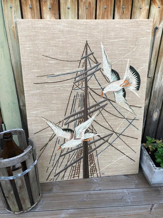 Swedish textile artist ELSA KARLSSON crewel on linen wall hanging title is Seagulls in flight featuring sea gulls tall ship mast