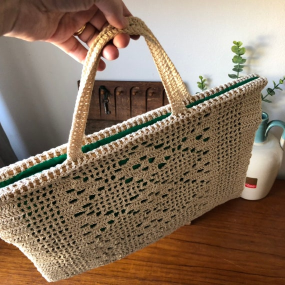 Boho crochet bag market bag beige with green lining cream handbag macrame