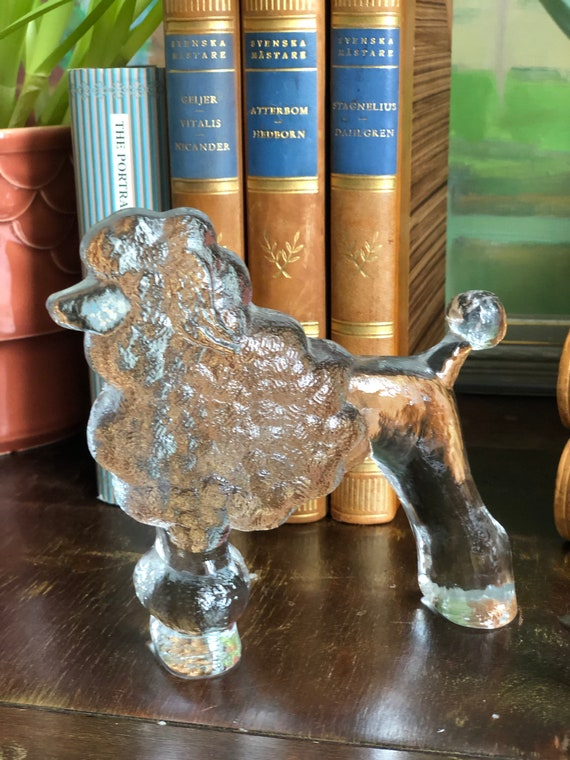 Poodle glass figurine by Bertil Vallien Kosta Boda kennel series dog 1970s flat back