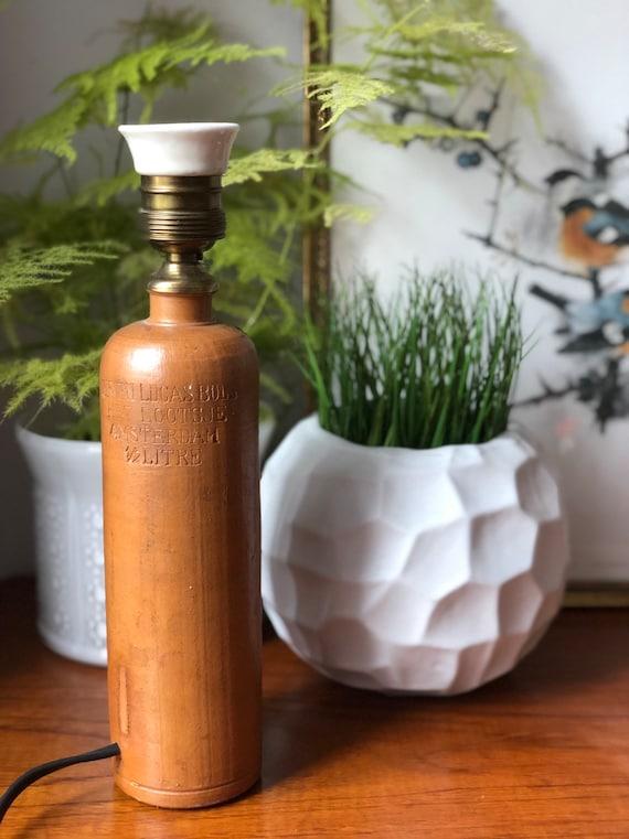 Antique Dutch stoneware liquor bottle lamp from Amsterdam / ERVEN LUCAS Bols  Het LOOTSJE