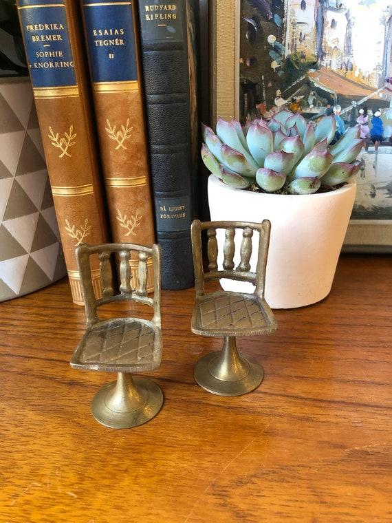 Pair of brass Scandinavian Miniature dollhouse chairs metal linen sold as set
