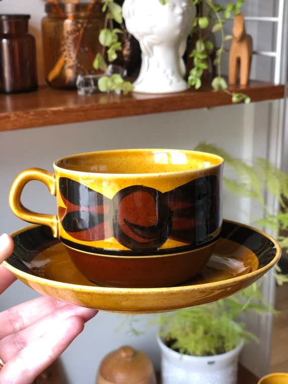 Large Rörstrand Tuna tea cup and saucer Swedish Rörstrand 1960s designed by Carl-Harry Stålhane