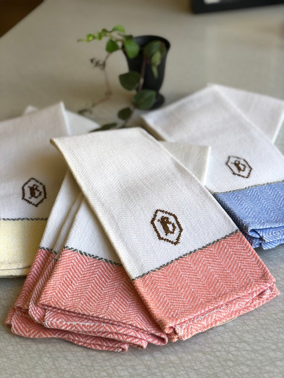 3 Vintage woven Scandinavian hand towel kitchen towel monogramed B blue yellow and coral white  farmhouse kitchen