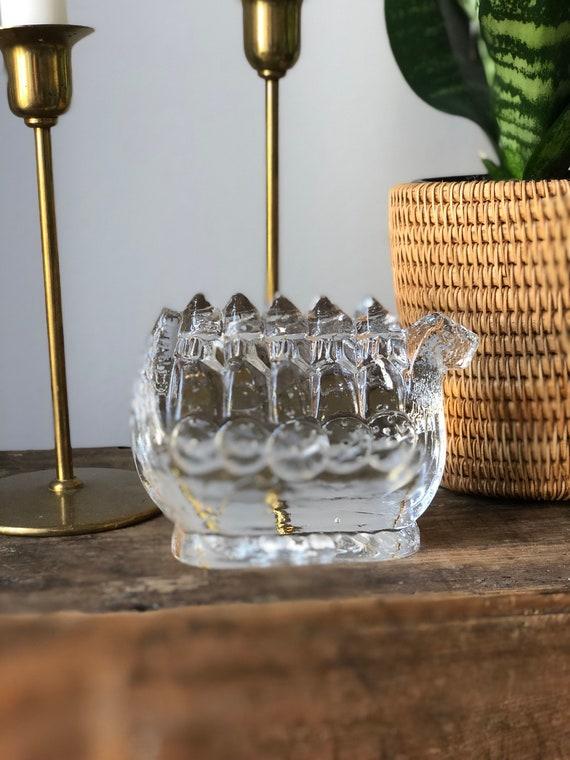 crystal glass viking boat ship sculpture figurine for Pukeberg glassworks designed by Uno Westerberg 1960s