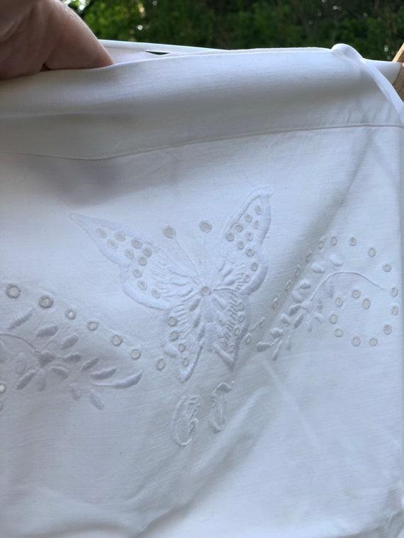 Victorian Crisp white Antique Scandinavian Linen hand embroidered pillow case butterfly pattern monogrammed