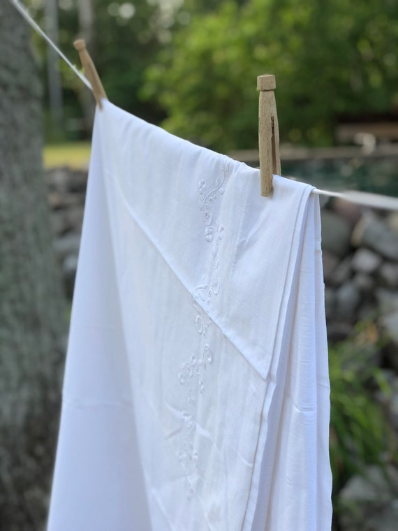 Vintage Scandinavian Linen flat sheet hand embroidered monogrammed EFN flat sheet Swedish white on white