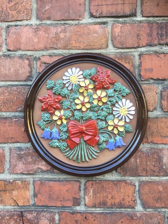 Vintage 1960s round ceramic tile plaque ceramic wall art Gabriel Sweden Scandinavian flowers outdoor space