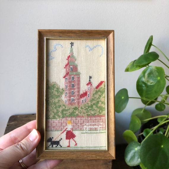 Scandinavian Cross Stitch needlepoint small picture wall hanging featuring a girl walking her dog nanna chic/grandma chic/granny chic