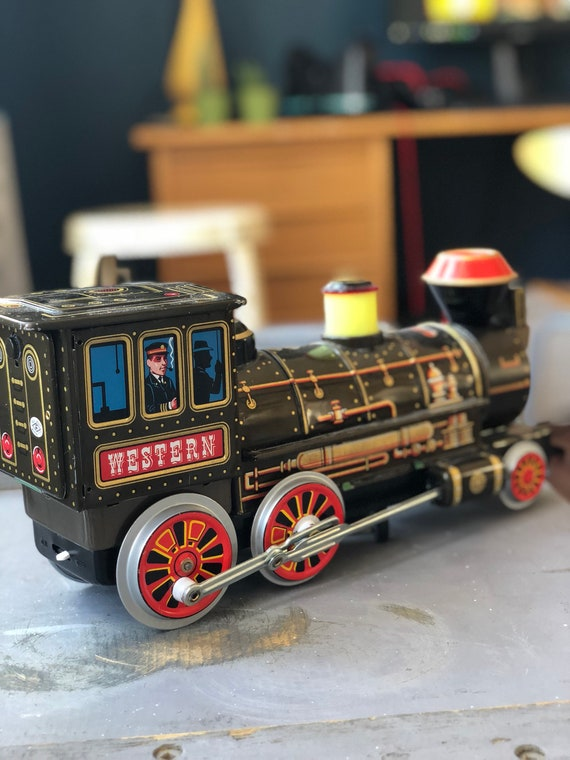 Vintage tin Japanese Trademark toy locomotive / collectible battery operated train western locomotive 1970s