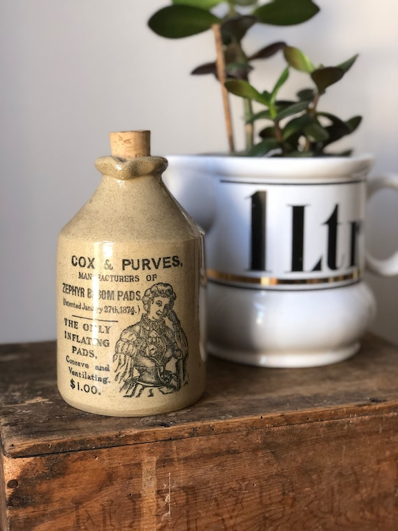 Antique Moira pottery Vintage glazed bottle with cork  1910 / cox and Purves