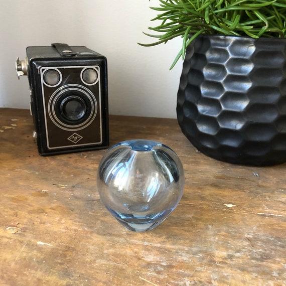 Per Lutken  Holmegaard  miniature vase heavy crystal Scandinavian  1960s signed