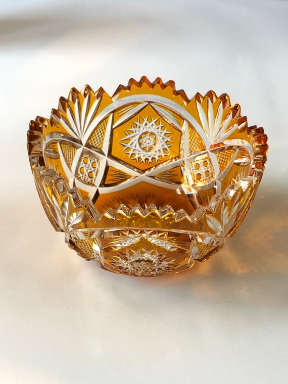 Czech Crystal color cut to clear bohemian crystal bowl