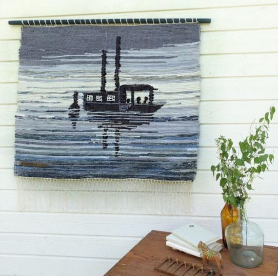 Original patchwork Scandinavian rag rug woven textil art wall hanging tapestry nordic design /Swedish weaving Nordic fiber art