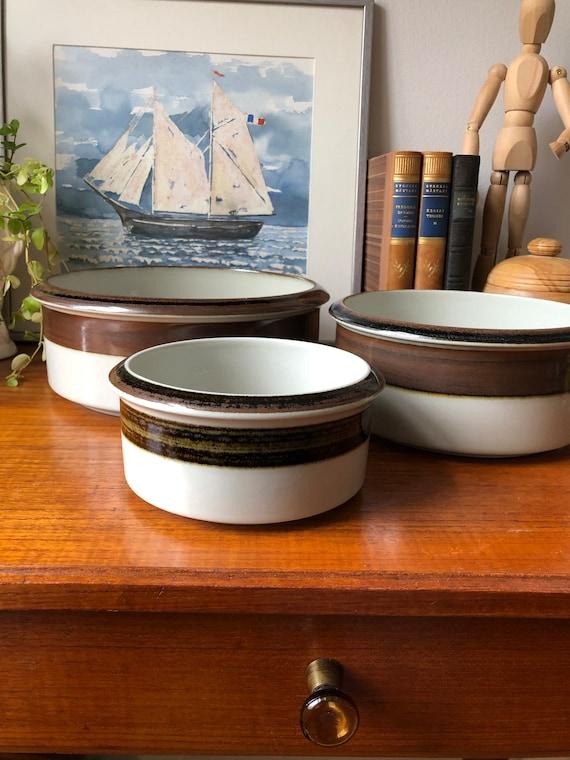 Arabia set of vintage serving karelia bowls 1970s Scandinavian design minimalist