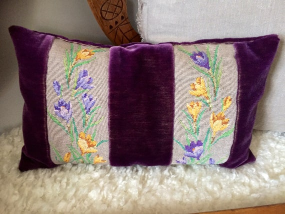 vintage decorative pillow violet purple 1970s  throw pillow velvet velour embroidery detail flower pattern 70s vibe