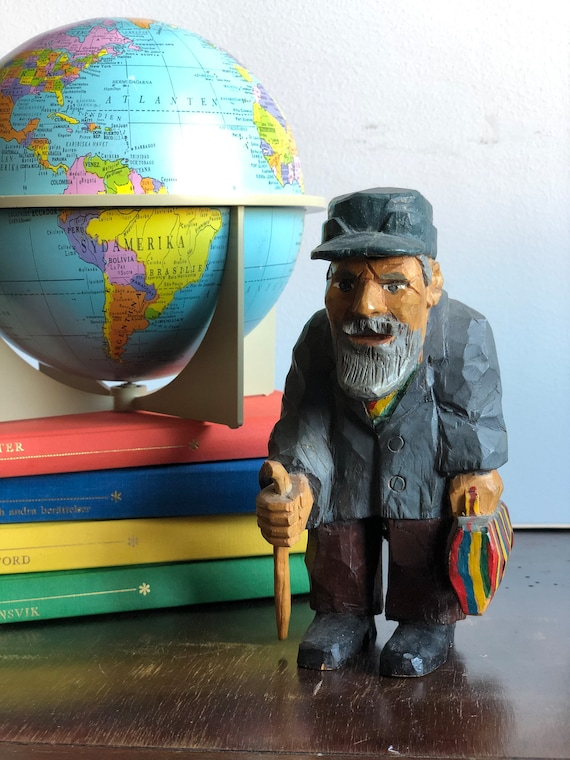 Swedish wooden hand carved old man character man figurine hand painted woodworking