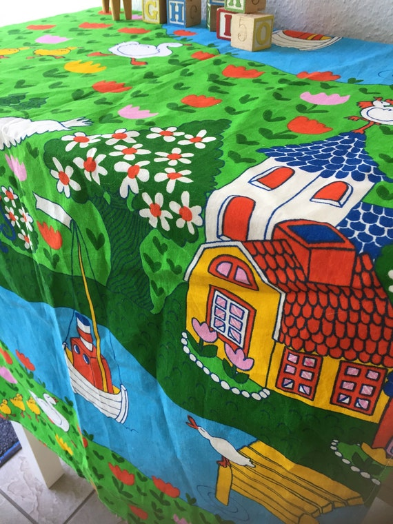 Nusery /childrens /  anna lena emden /Scandinavian midcentry colorful swedish landscape motif on thick cotton/Material/Swedish/1960's/vintag
