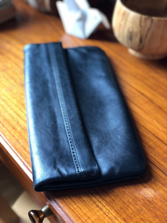 Fold over Black Leather Clutch 80's genuine leather