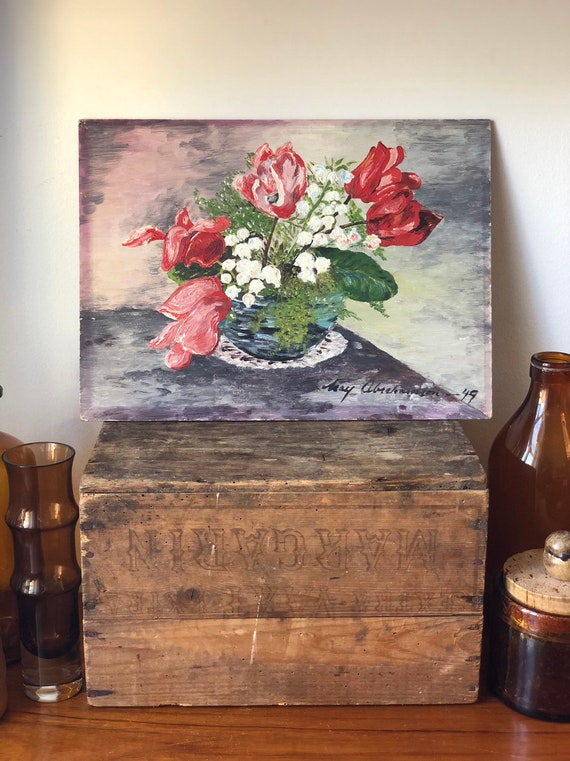 Original Swedish oil painting on bord panel still life flowers signed Abrahamson 1949 floral small painting