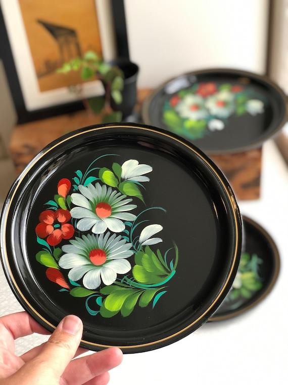 Vintage set of 3 enamel Soviet trays handpainted  Floral Flowers USSR serving trays Enamelware
