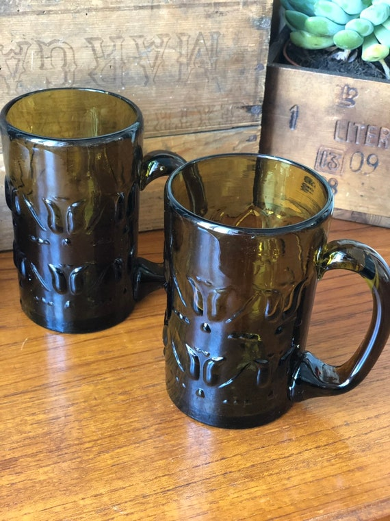 Swedish hand blown amber brown  beer steins 1970s set of 2 Skruf glassworks