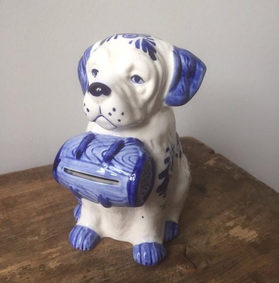 Vintage/delft blue/piggy bank /coin bank/vintage/ceramic/ shelfie /holland /dog/ St Bernard