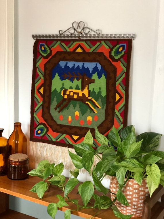 Large Handwoven kilim wallhanging deer reindeer folk art traditional Flemish slow art flamsk Scandinavian nordic