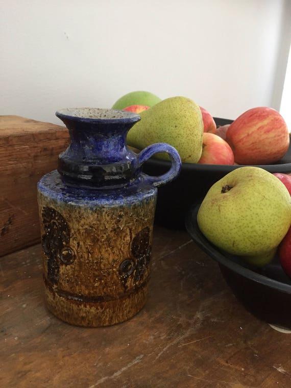 Studio pottery boho sunfower sunflowers stoneware jug vase handmade