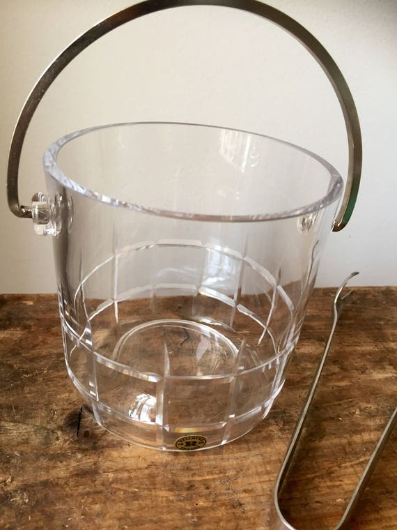Reijmyre Midcentury modern ice bucket made in Sweden Scandinavian glass midmod 1970s with tongs