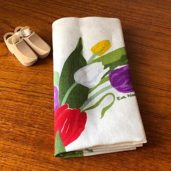 Scandinavian linen small square tulip tablecloth designed by Eva Nordström