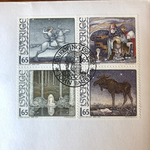 First day cover stamps from 1982 Sweden commemorative John Bauer series with envelope and historical information
