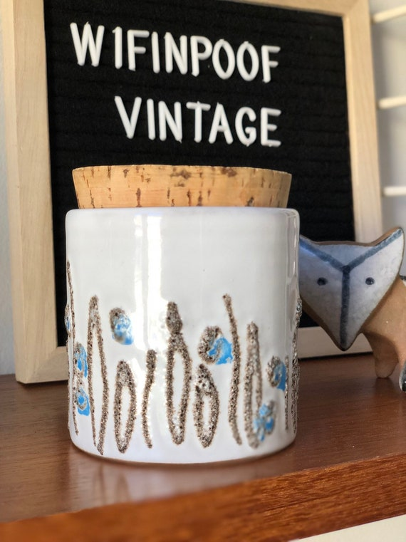 Vintage Strehla white blue jar container with cork lid 1960s