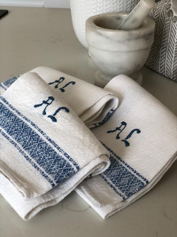 3 Vintage woven Scandinavian hand towel kitchen towel monogramed AL blue and white  farmhouse kitchen