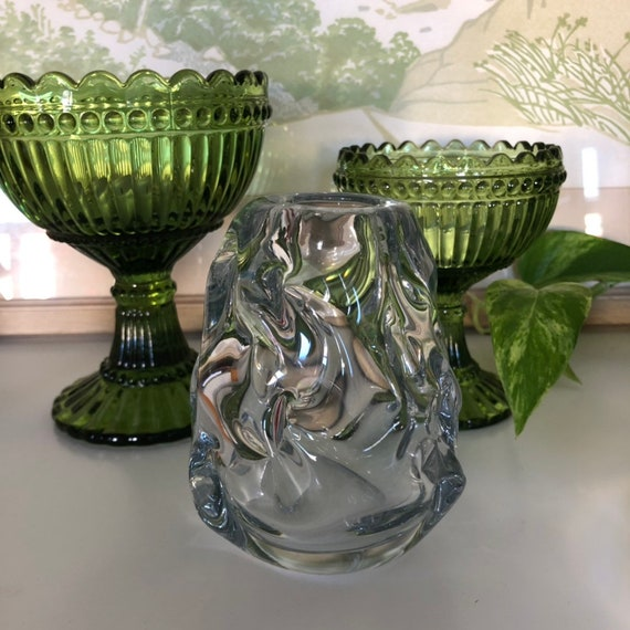 Vintage Scandinavian hand blown glass vase / modernist mid century waterfall glass