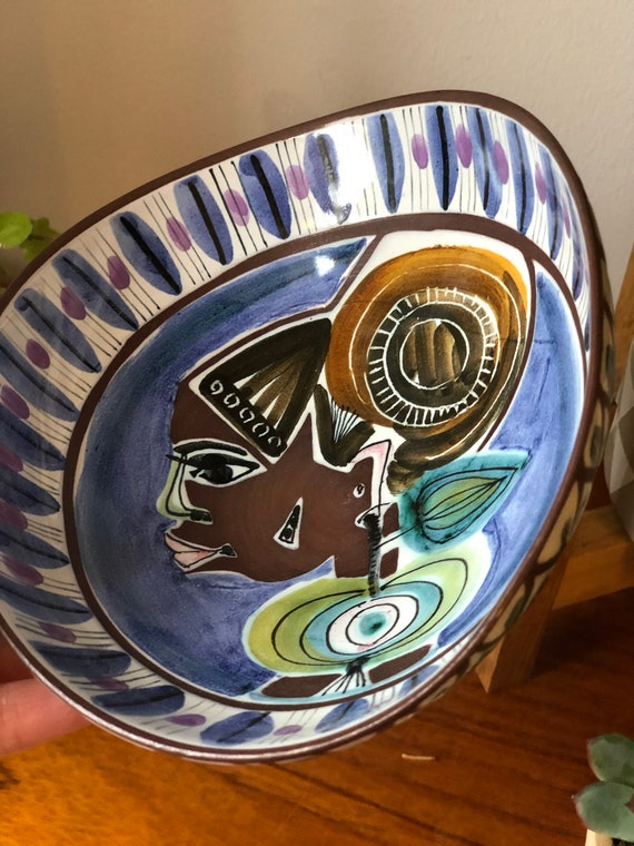 Vintage JANE WÅHLSTEDT Jani ceramics Swedish bowl with woman profile vibrant hand painted by Laholm Ceramics