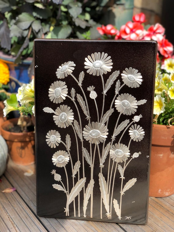 Gustavsberg art ceramic tile plaque from 1976 silver daisies designed by Heinz Erret / Scandinavian midcentury modern