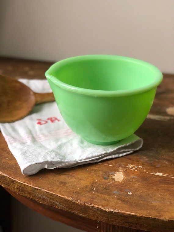 Jadeite mixing bowl with spout midcentury vintage glass bowl