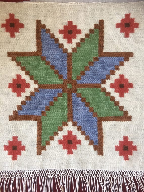 Boho traditional kilim wallhanging Scandinavian woven folk art /wool 1960s traditional folk art