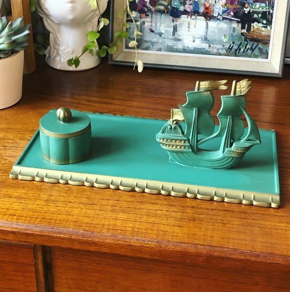 Antique Inkwell set gold and green bronze Scandinavian inkwell with tall ship letter holder/hollywood regency/ Art nouveau