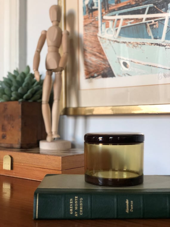 Swedish amber brown Glass Jar with lid, antique vintage decor Storage Scandinavian