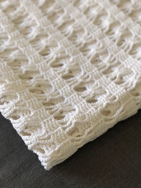 Vintage à la main au crochet Blaket couvert/Scandinavian motif traditionnel/Boho Boho crochet style coton blanc