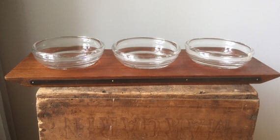 Danish/Midcentury Modern/Glass Condiments/Serving Set/Teak / silver plated/hand blown glass/Serving Tray/Scandinavian Design/GAB