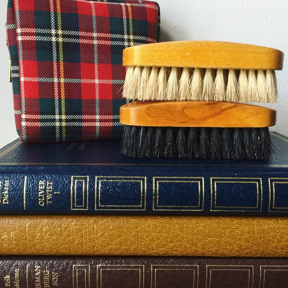 Vintage clothing brushes/shoe shine brush/travel case/1960/plaid/travel kit/dapper/