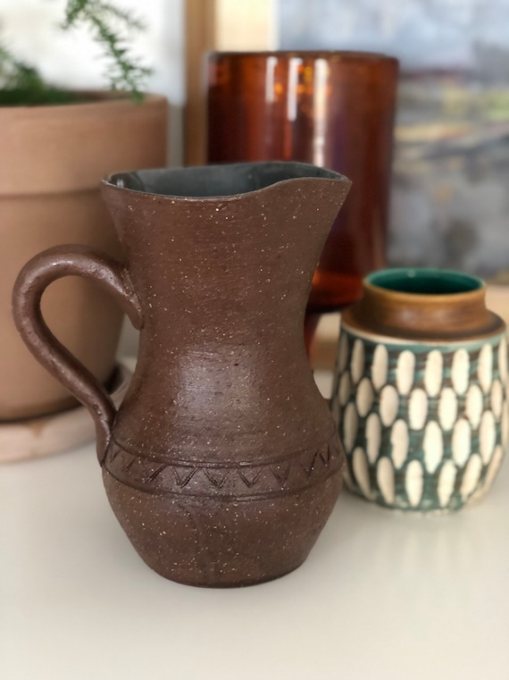 Swedish studio pottery ceramic jug by Bengt Wall for Wall Trosa ceramics Sweden midcentury modern blue and brown hygge boho pitcher