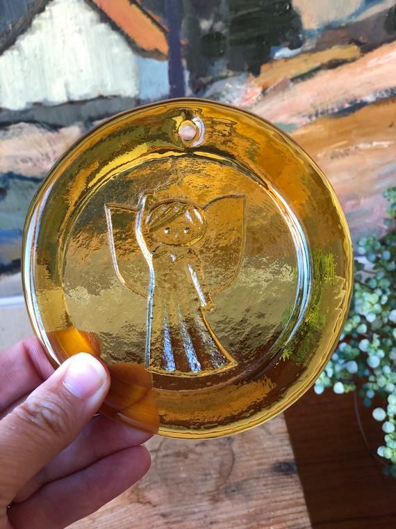 Amber Sun catcher glass with angel motif window hanging  wall hanging mid century 1960s suncatcher