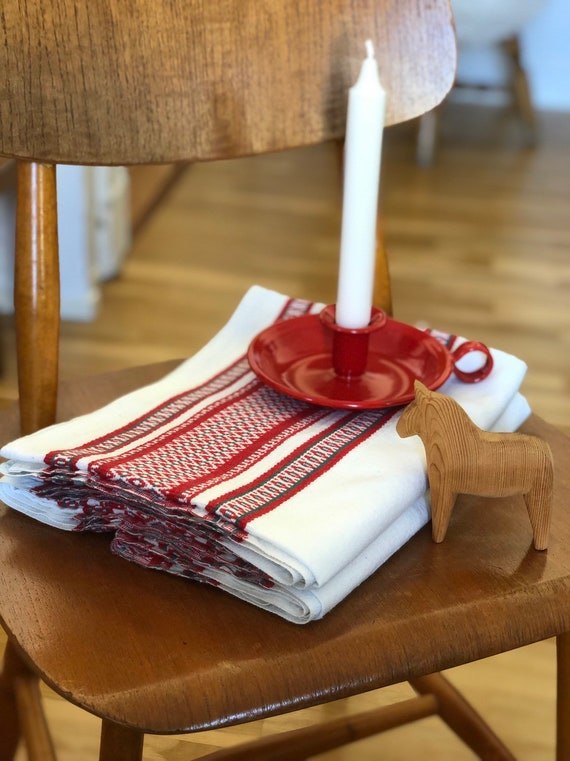 Tablecloth Vintage Scandinavian scandiboho linen cotton handwoven tablecloth style/natural fibers/hygge/scandinavian white red green