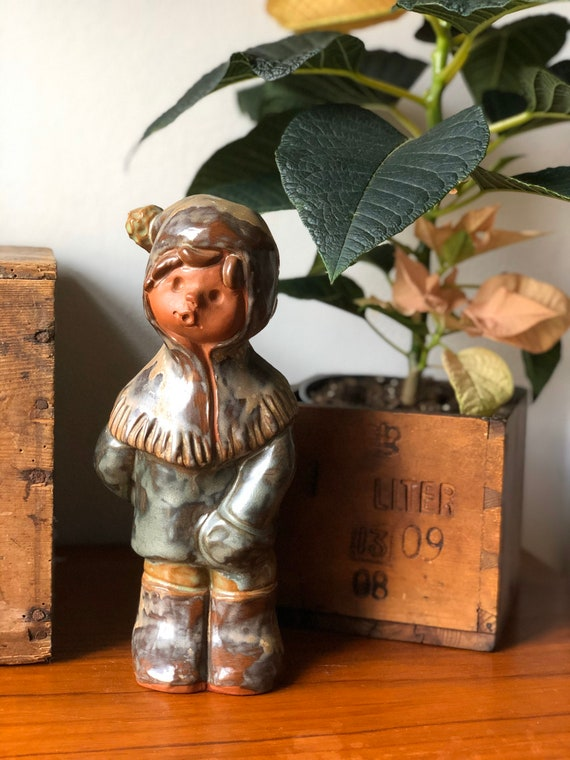 Tilmans keramik Sweden ceramic winter boy figurine 1950s Scandinavian design