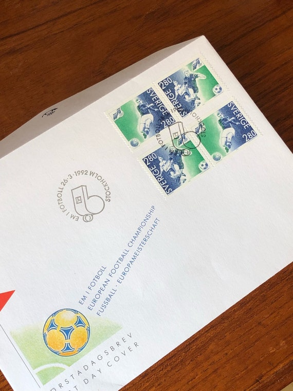 First day cover stamps from 1992 Sweden the European Football Championship games EM with history / Scandinavian stamp collection / soccer