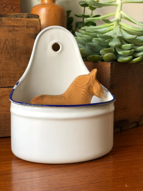 Vintage classic kockums hanging container white enamel with blue trim  Swedish/ Scandinavian made in Sweden