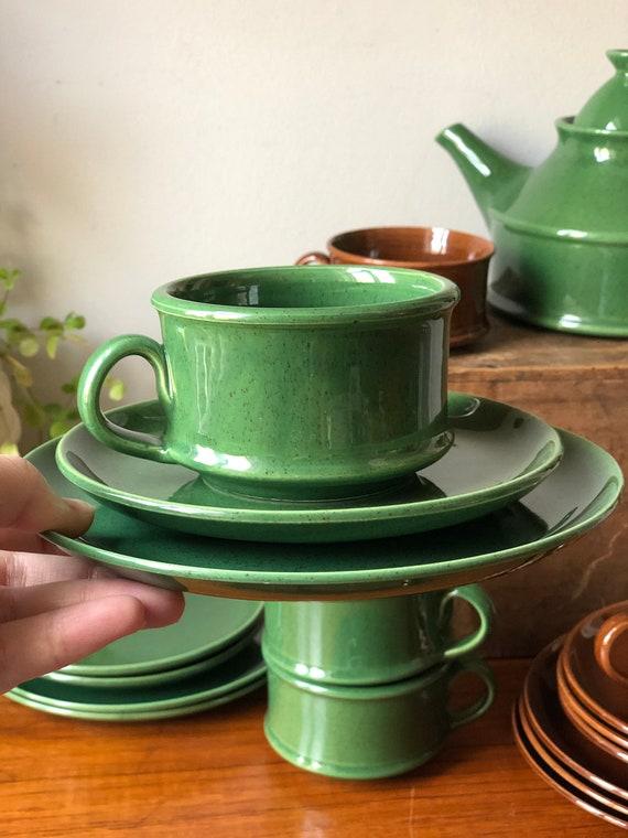 Bo Fajans Vintage berit ternell Gefle Sweden tea cup, saucer, appetizer sandwich plate ceramic/ 1950s